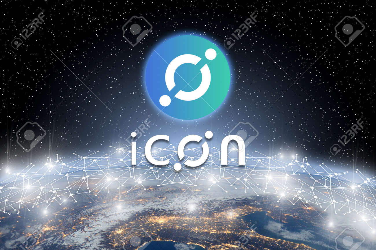 Concept of iCon coin floating over world network, a Cryptocurrency