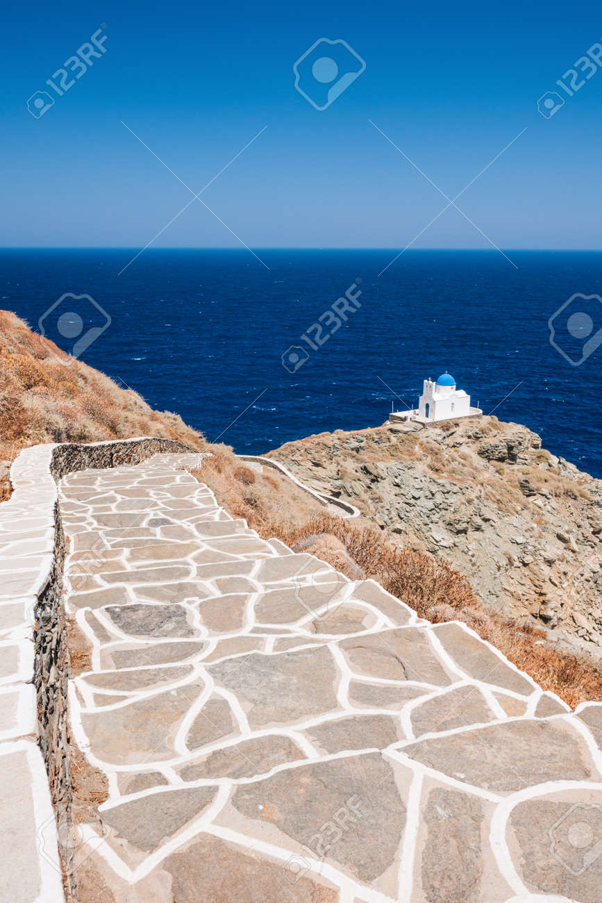 Stairway leading to the chapel of 7 Martyrs, on the Greek island of Sifnos. Stock Photo - 15124804