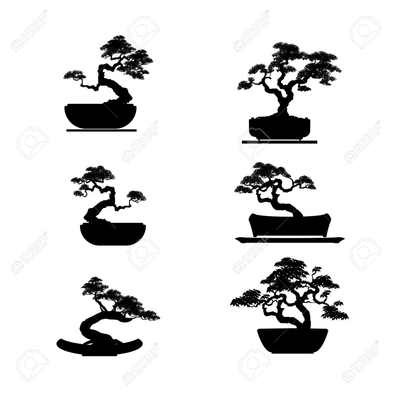 Bonsai Tree Silhouette Clip Art