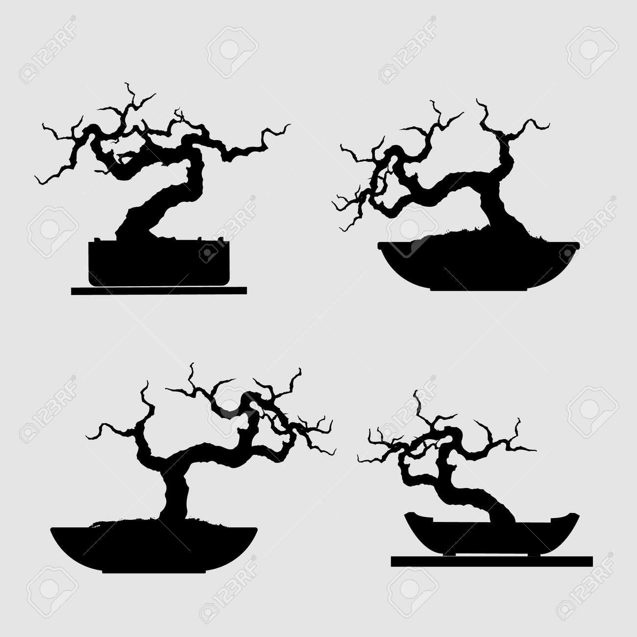 Bonsai Tree Black Silhouette Detailed Image Vector Illustration Royalty Free Cliparts Vectors And Stock Illustration Image 89101645