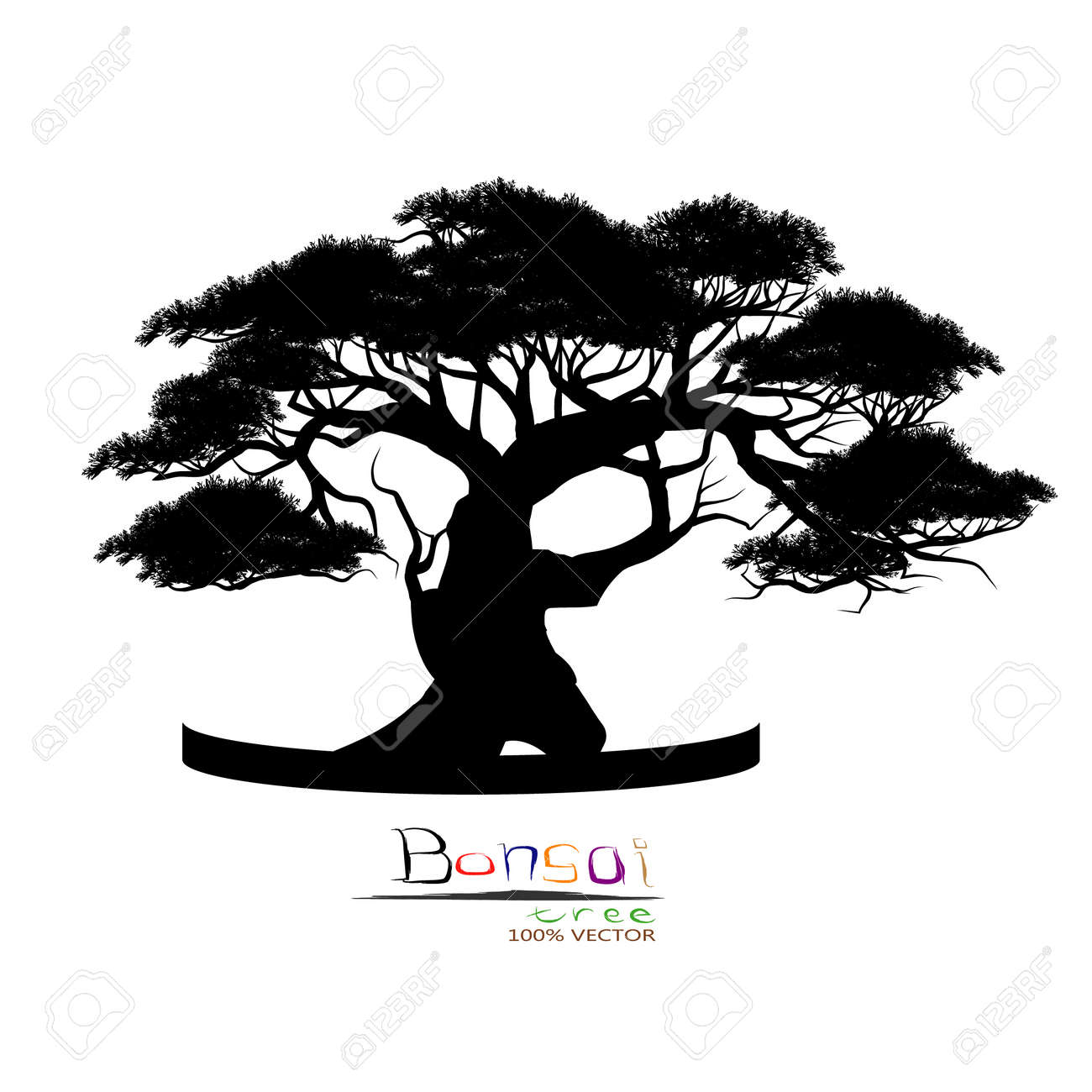 Japanese Bonsai Tree Plant Silhouette Icon On White Background Royalty Free Cliparts Vectors And Stock Illustration Image 96001776