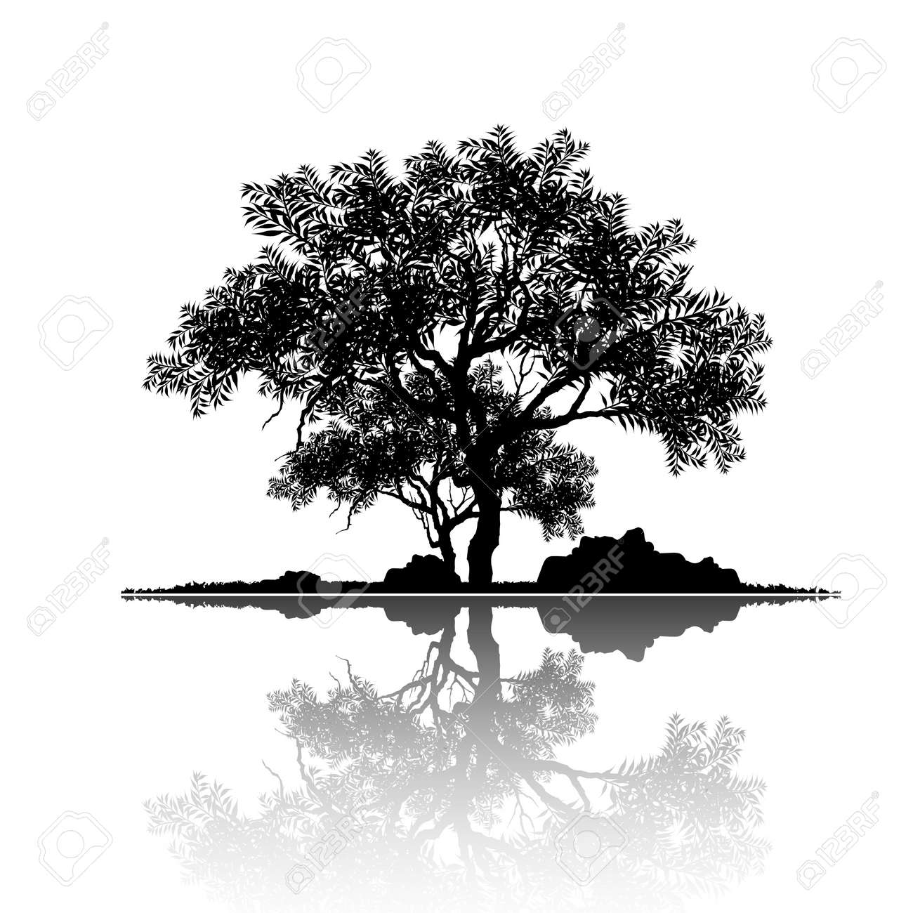 Vector of tree, silhouette icons on white background. tree flat icon for apps and websites. View of natural scenery, illustration. - 112307215