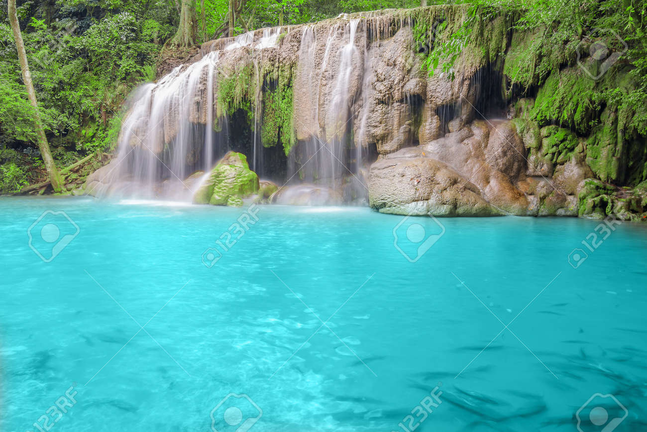 Deep forest Waterfall in Kanchanaburi Stock Photo - 26099703