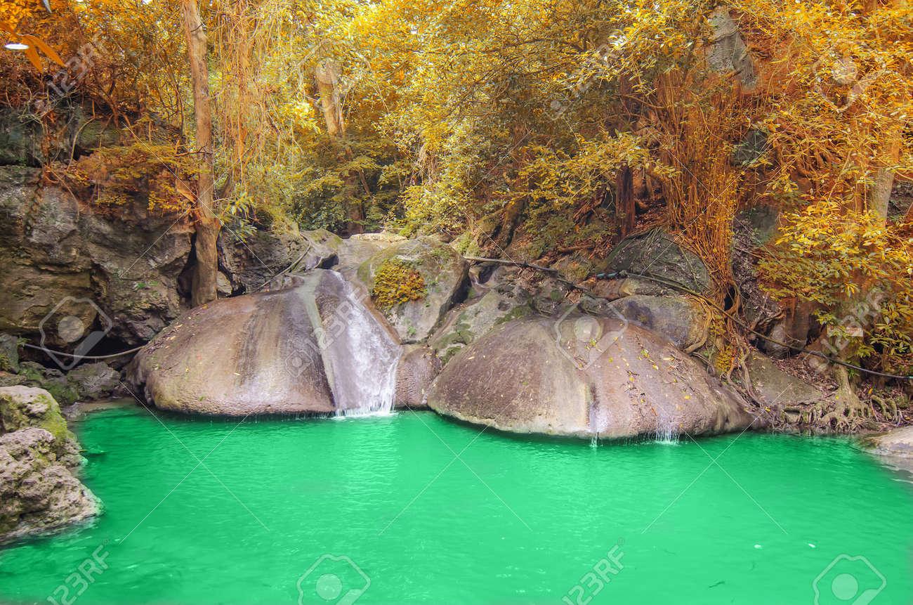 Deep forest Waterfall in Kanchanaburi Stock Photo - 26099705