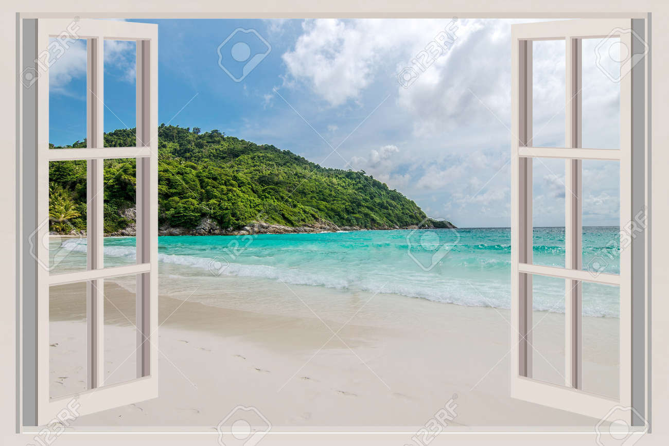 Open window beach - The Open Window With Sea Views Stock Photo 31770894