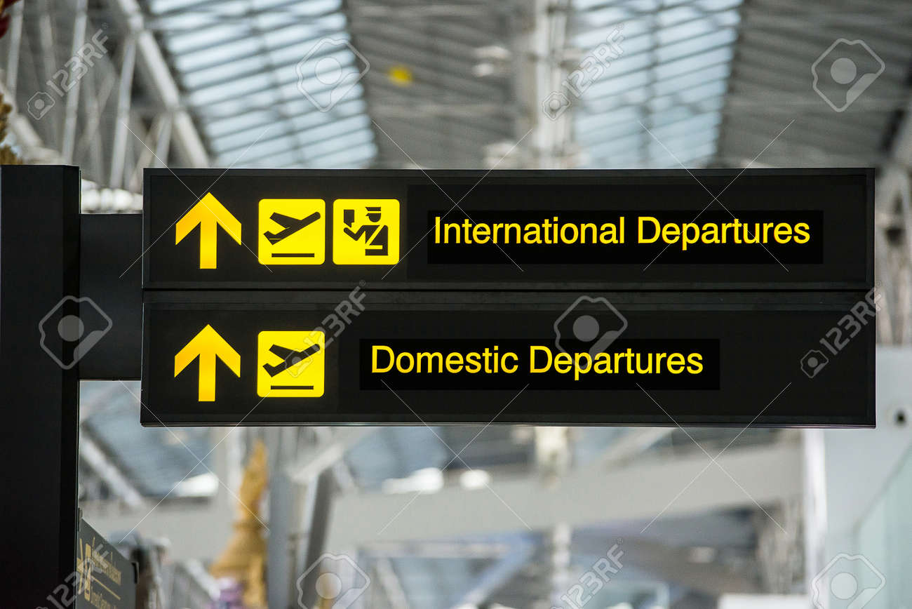 Airport Departure & Arrival information board sign - 36071006