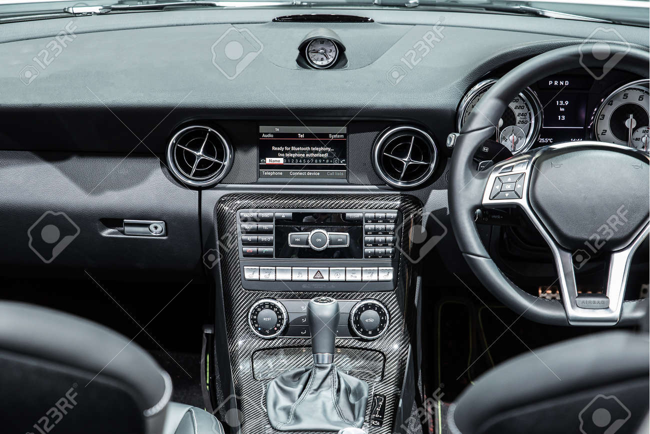 Interior Of A Modern Automobile Showing The Dashboard Stock Photo ...