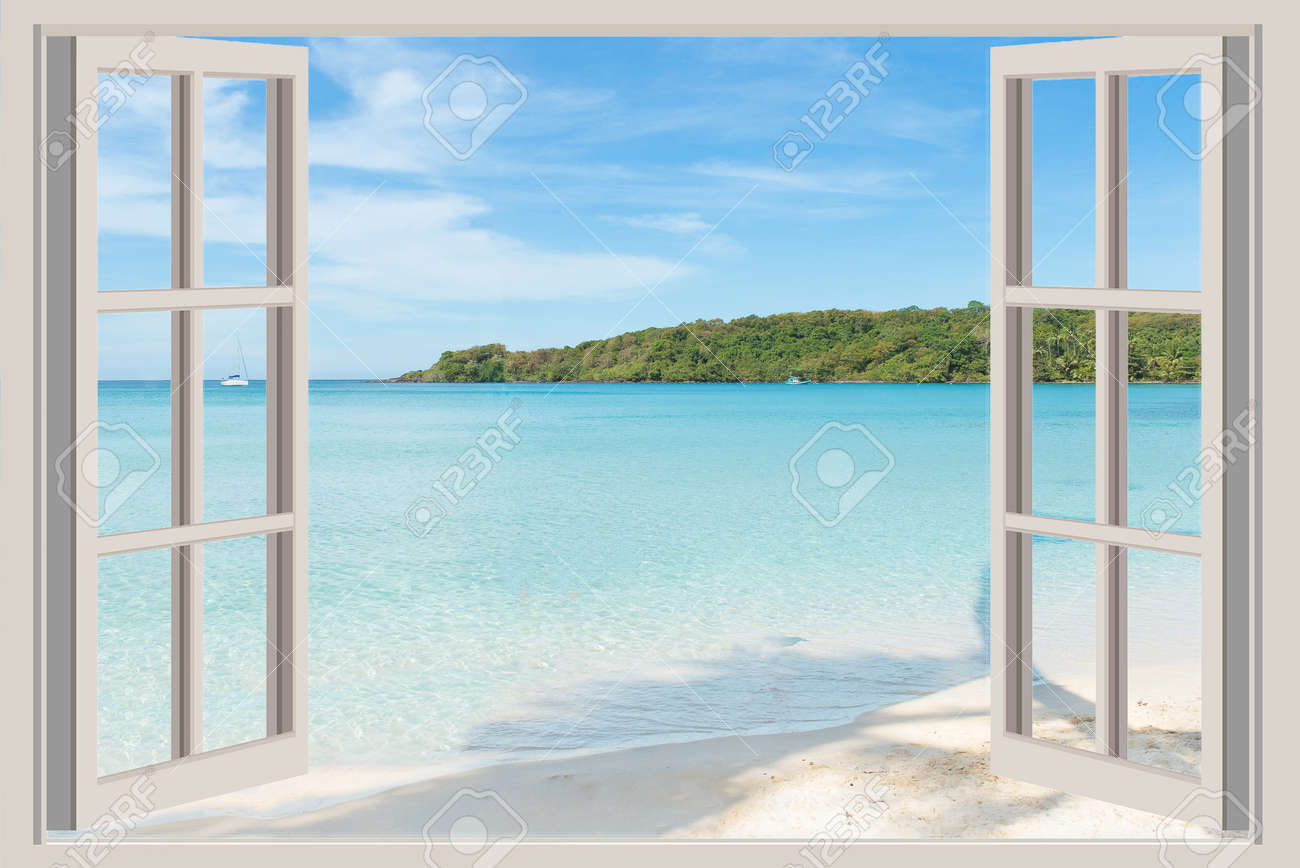 Open window beach - Open Ocean Beach Summer Travel Vacation And Holiday Concept The Open Window With Sea Views