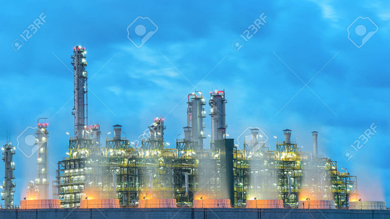 Landscape Boiler In Stream Power Plant At Night. Stock Photo ...