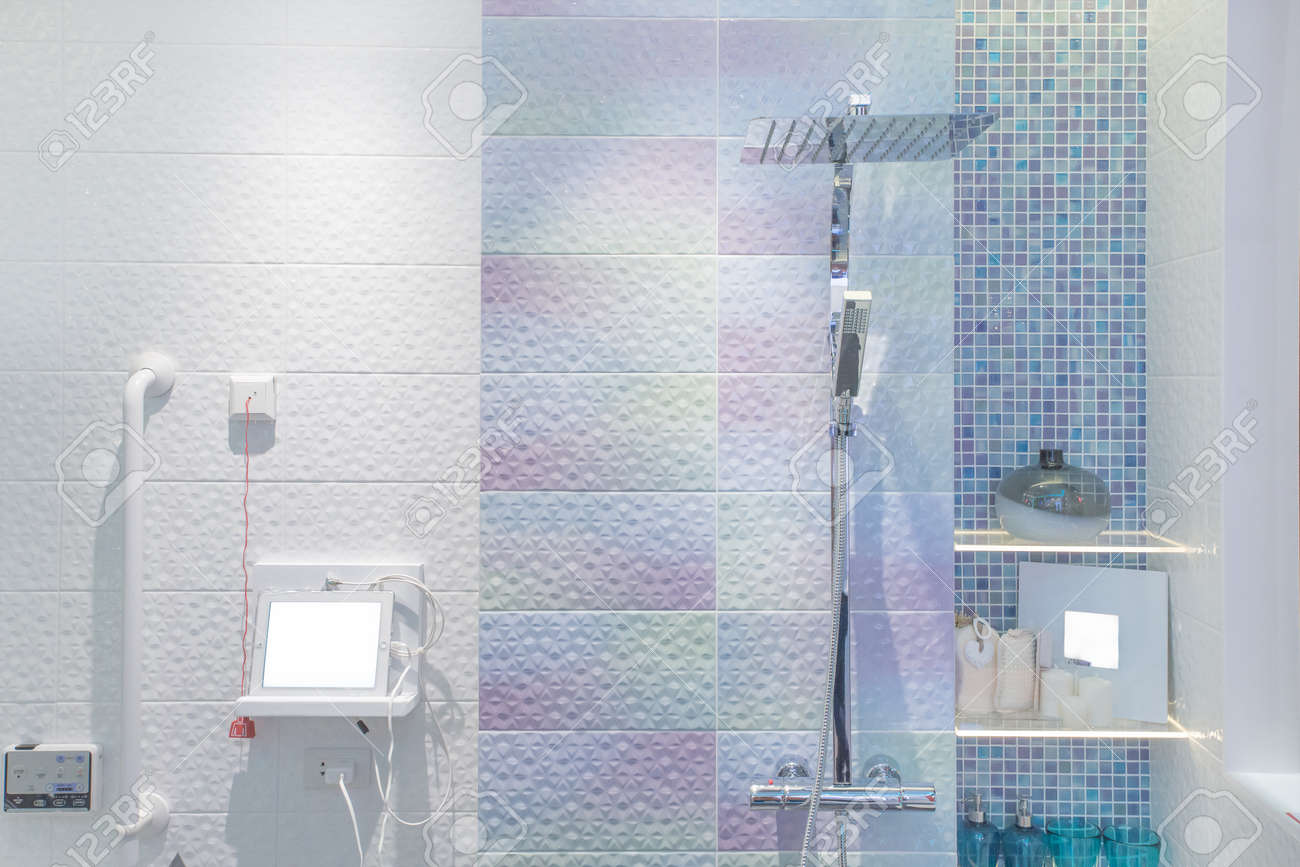 Modern Shower Head In Bathroom Stock Photo, Picture And Royalty Free ...