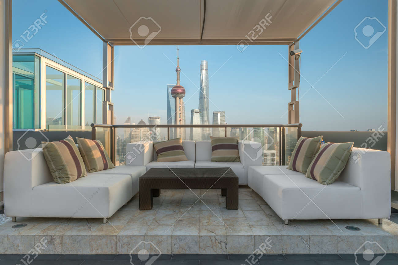Chairs And Couch Sofa Provide In Lounge From A Highrise Rooftop Stock Photo Picture And Royalty Free Image Image 64265169