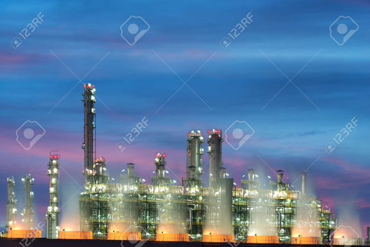 Landscape Boiler In Stream Power Plant At Night. Electricity.. Stock ...