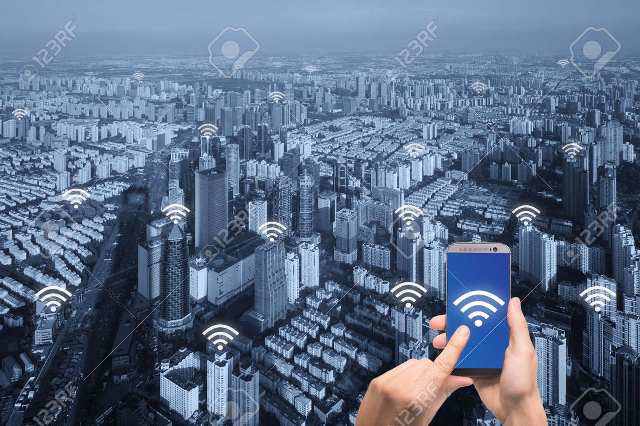 Free internet icon and Paris city with network connection concept,
