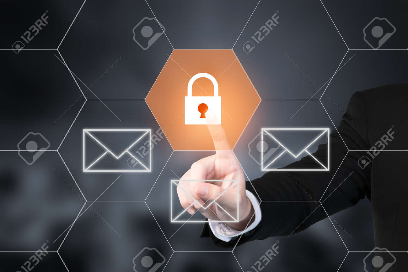 Businessman pressing e-mail security button on virtual screens. Use for business technology internet concept - 64304965
