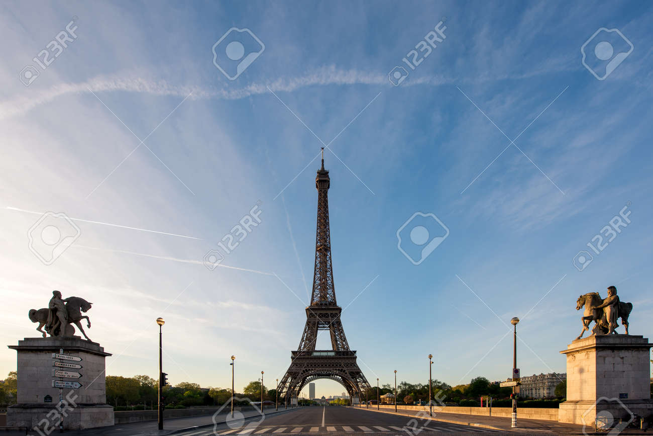 sunrise in eiffel tower in paris france eiffel tower is famous