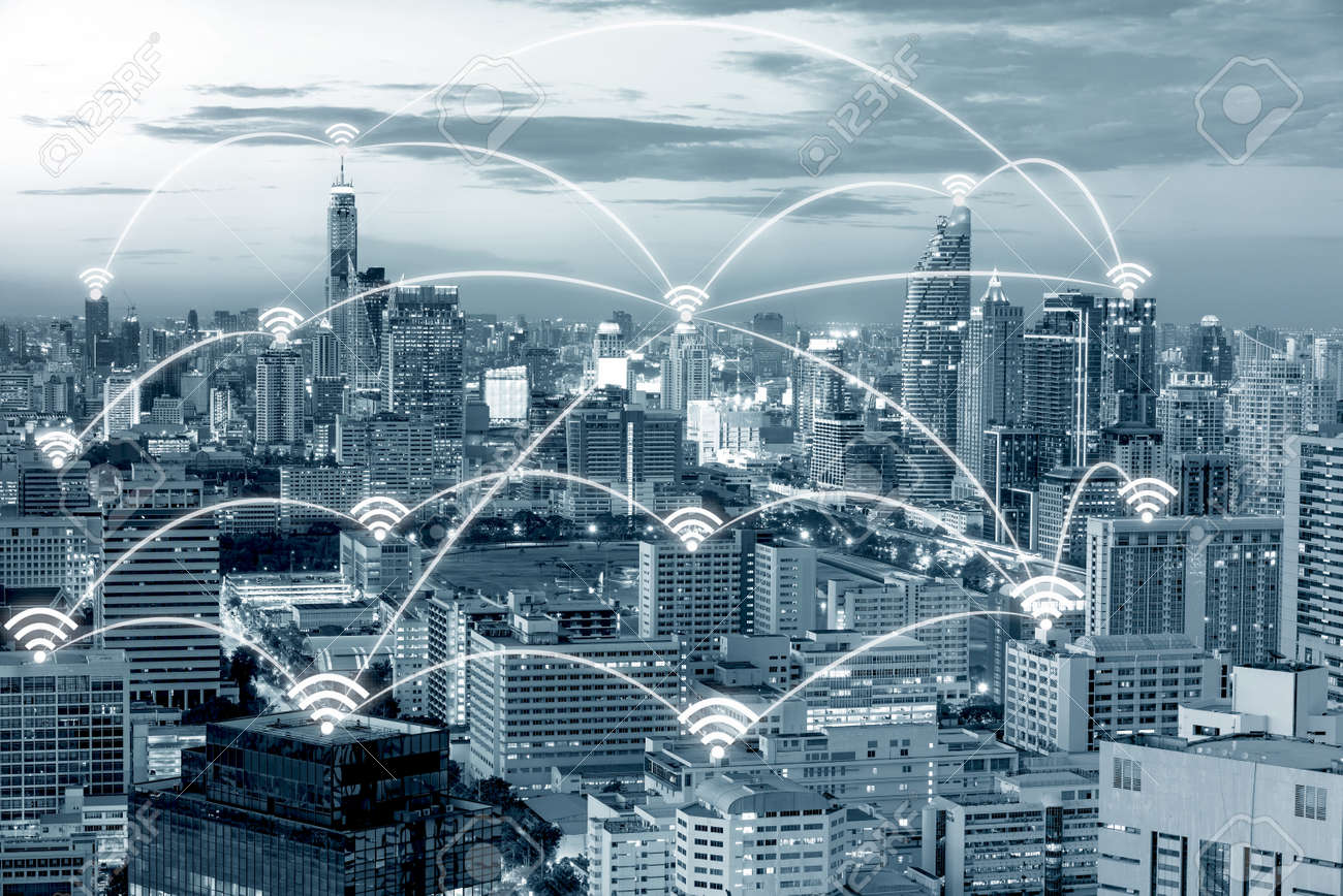Wifi icon and Bangkok city with network connection concept, Bangkok smart city and wireless communication network, abstract image visual, internet of things. - 66155202