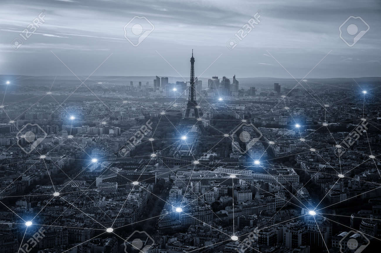 Smart city scape and network connection concept, wireless signal of internet in business city. internet connection.social on line business - 66155217