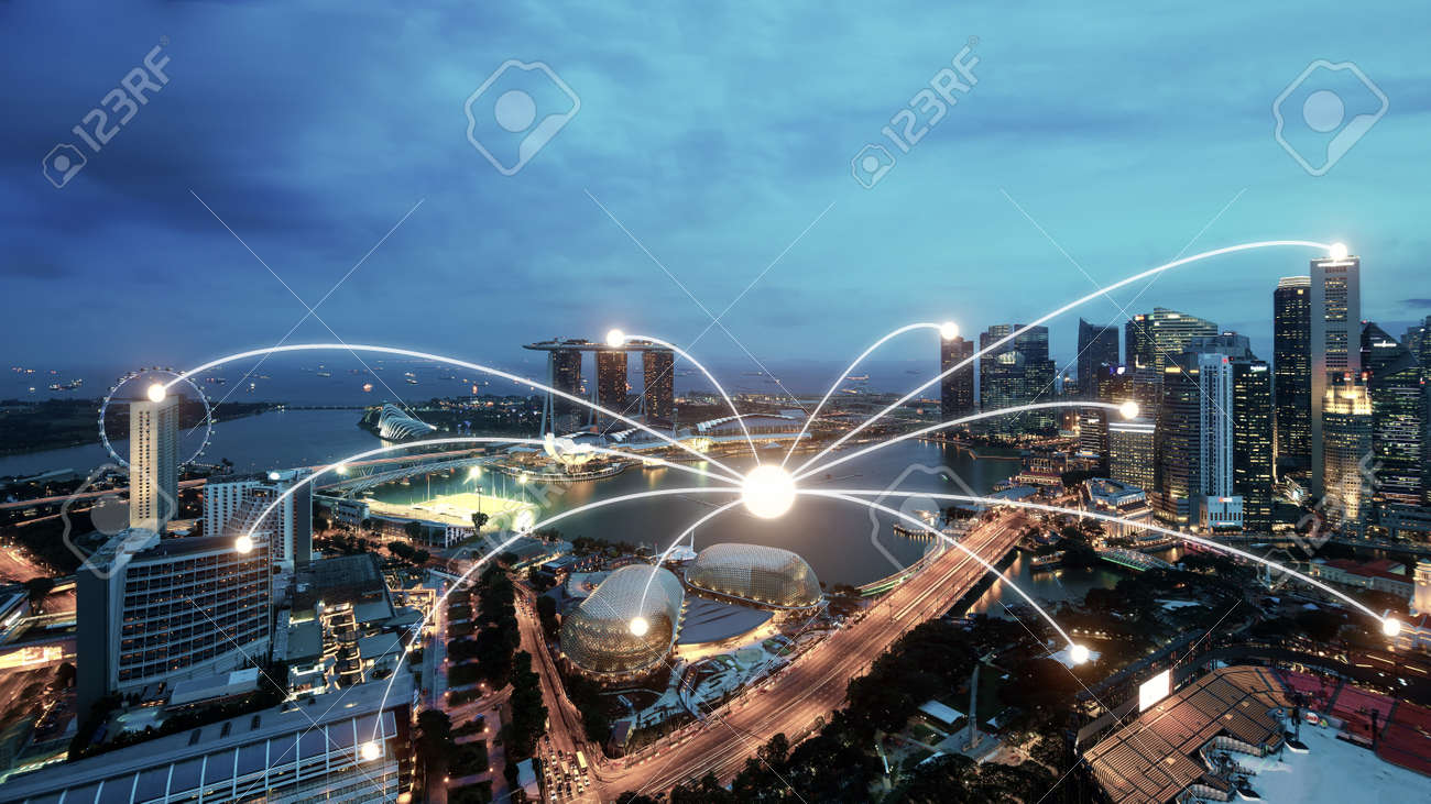 Network business conection system on Singapore smart city scape
