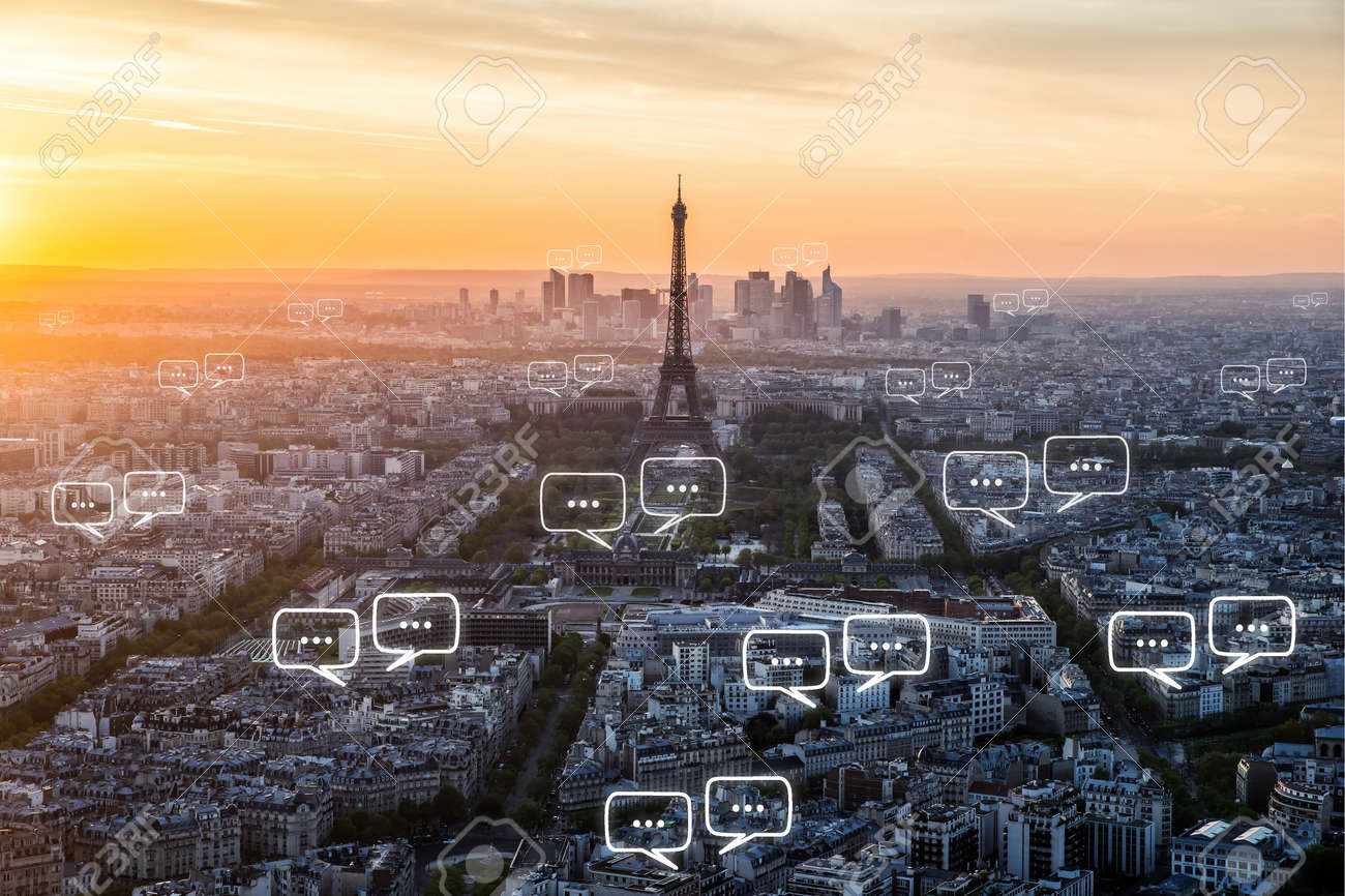 Blank space for text on Paris city and bubble chat for communication. Technology and communication concept - 67437498