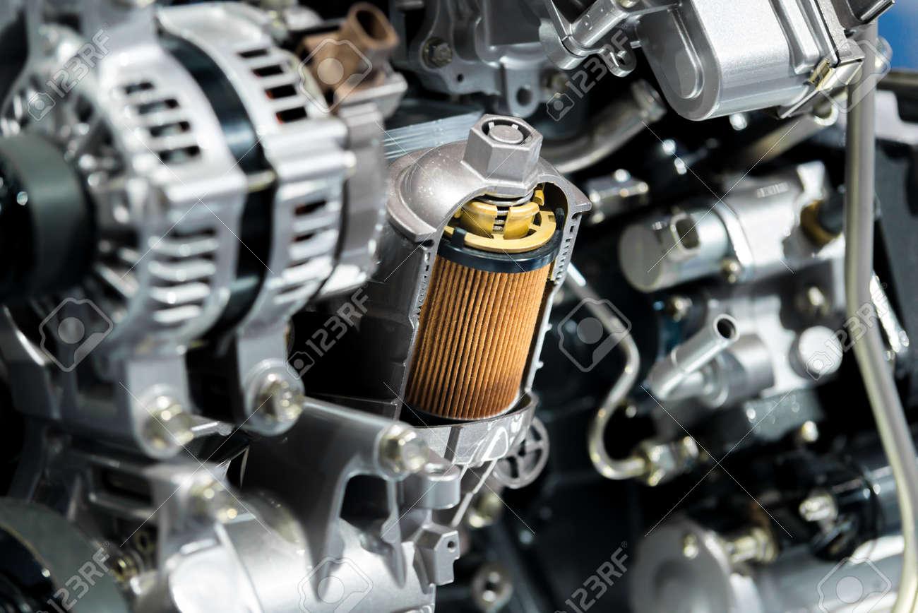 Motorölfilterquerschnittsanzeige Innerhalb Des Maschinenmotors Im ...