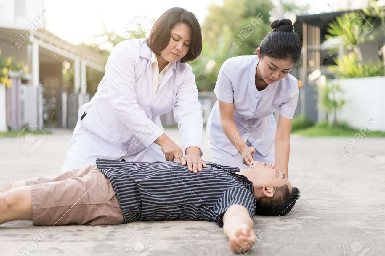 emergency cpr on a man who has heart attack , one part of the