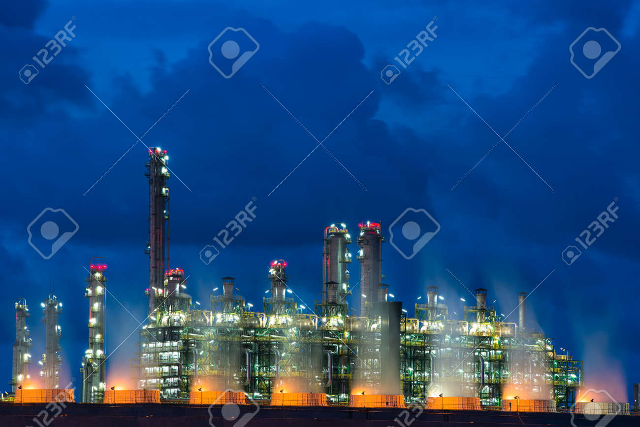 Landscape Boiler in stream power plant at night. Electricity power plant. - 125314753