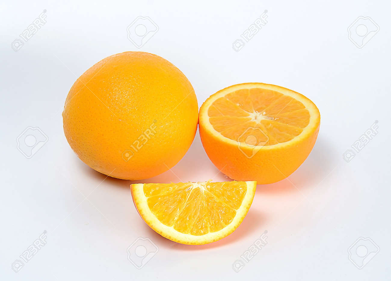 orange and slice on white Stock Photo - 16308949