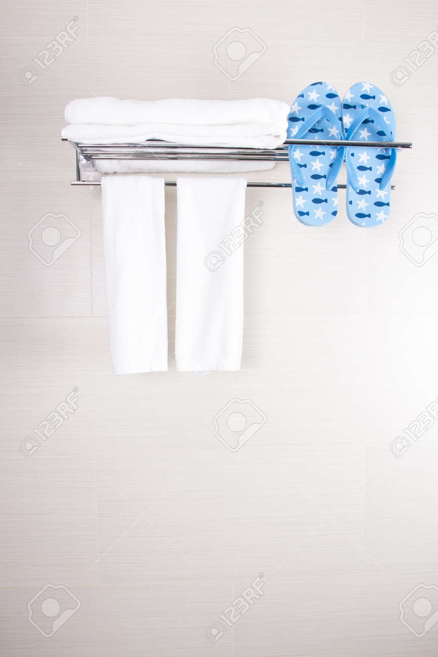 Delicieux Bathroom Towels, Bathroom Accessory Clean Towels And Blue Flip Flop Stock  Photo   14022760