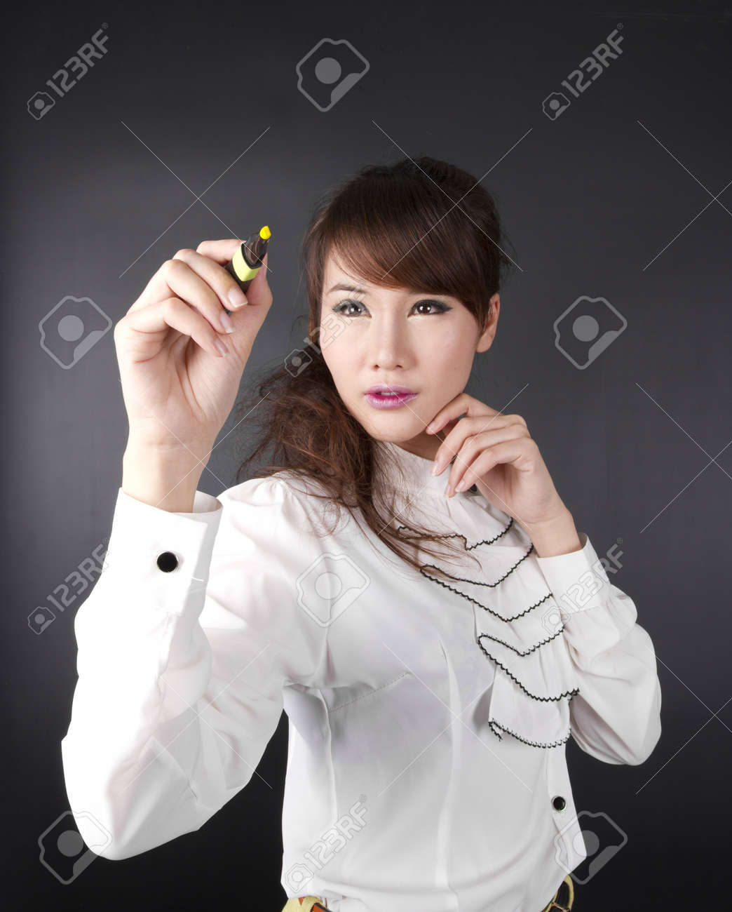 writing, Asian cute female writing on wall with pen Stock Photo - 15261784