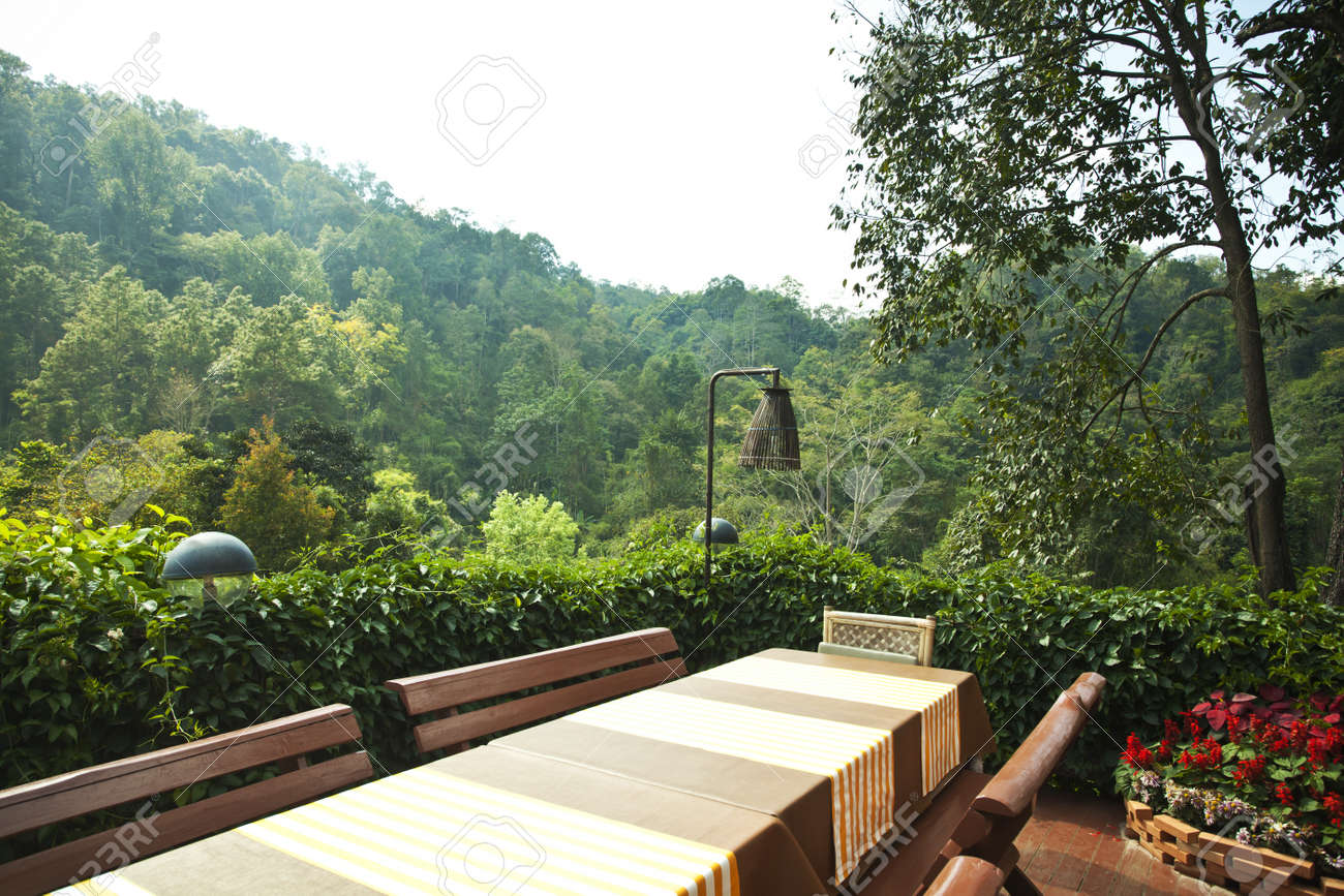 Terrace Table Wooden Balcony Table Set With Mountain View Stock