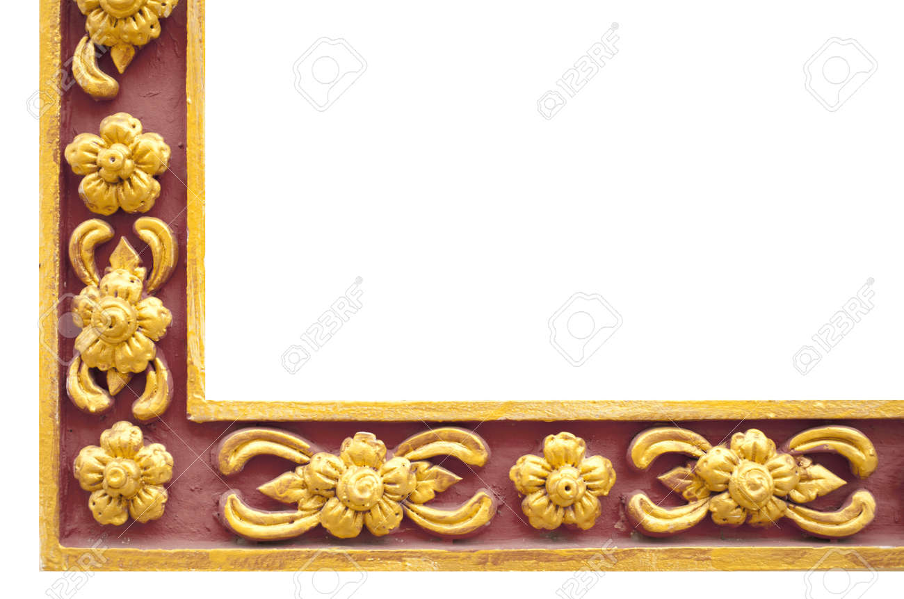 e20ddfacc9cb Stock Photo - Thai frame, Thai style golden and red craft corner frame  painted flowers