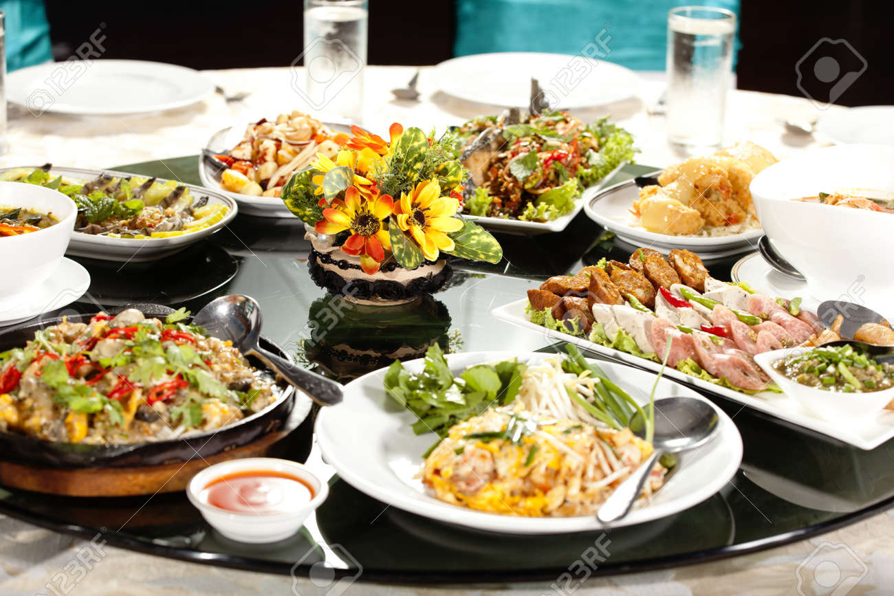 Circular Table Meal Time Full Round With Colorful Food In Restaurant