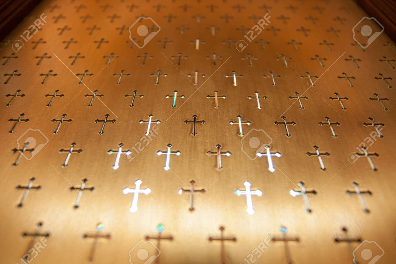 Cross Wallpaper Copper Metal Church Partition With Pattern Of
