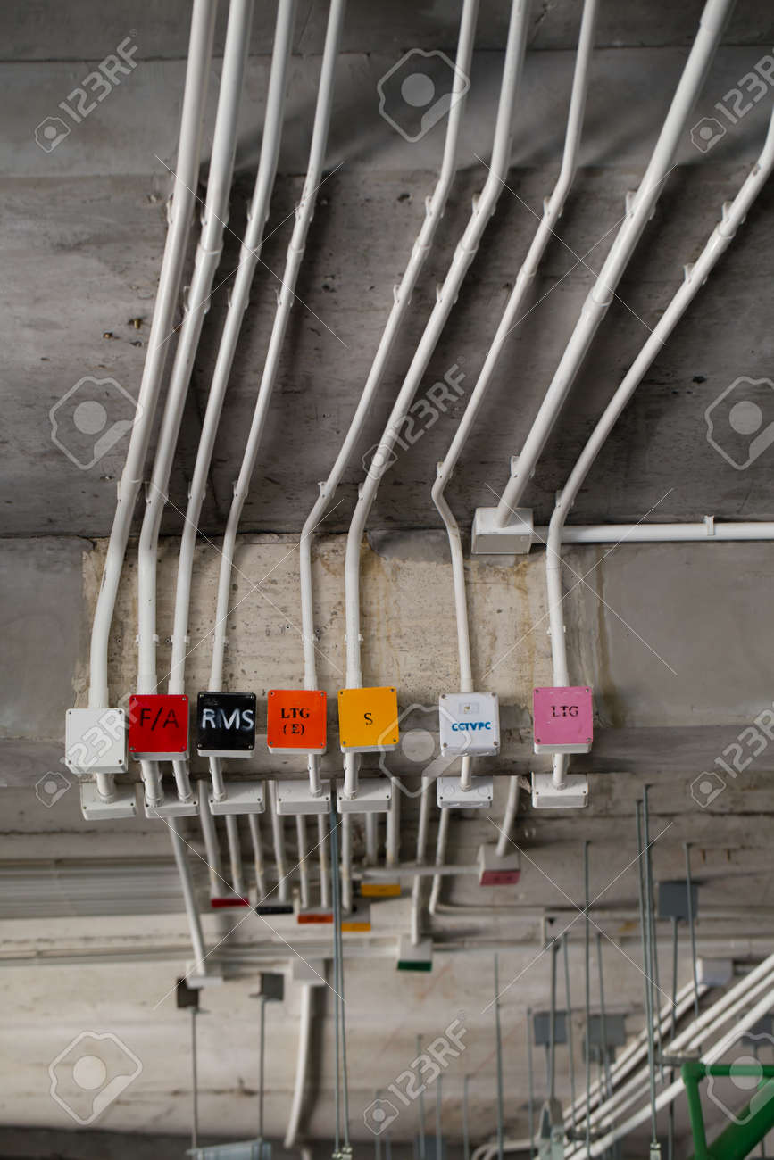 Electrical System Building Wire Attached On Wiring Wall An Sealing Stock Photo