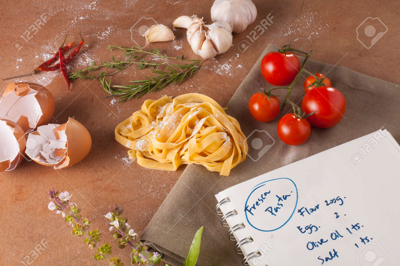 Pasta Menu Preparation Of Recipe Ingredients With Empty Notebook Written How To Make Fresh