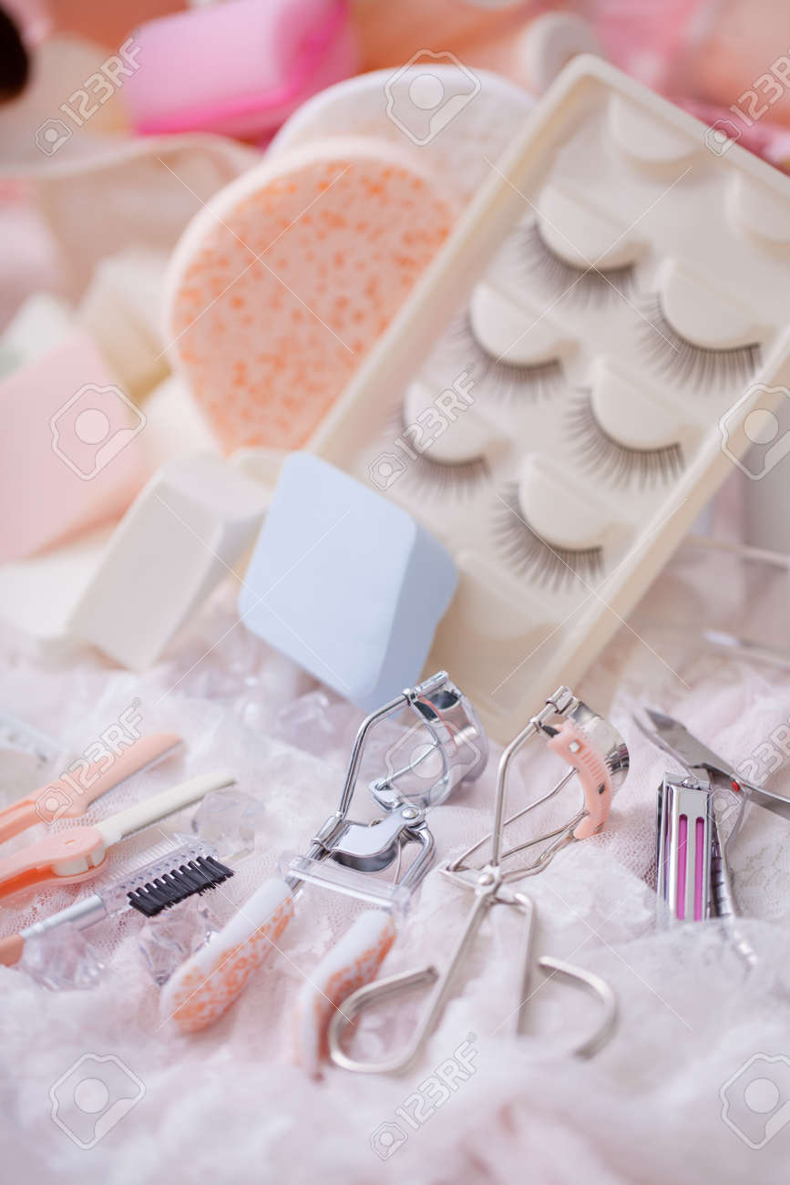 528a6a955 Cosmetic accessories mixed with hair salon equipment in cute..
