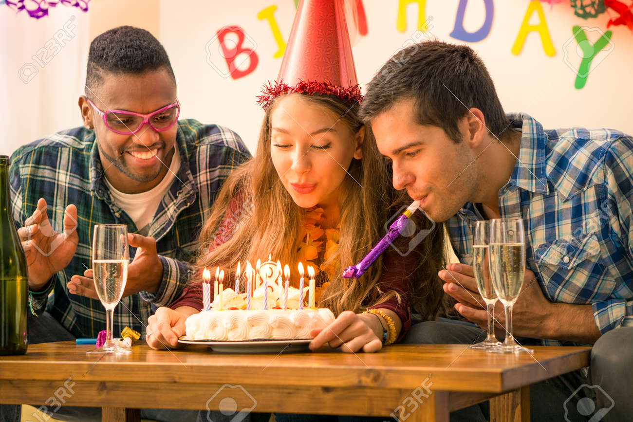 Girl 18th Birthday Party With Happy Multiracial Friends