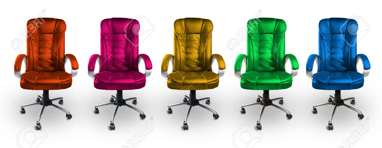 colorful office chairs - red, pink, yellow, green and blue stock