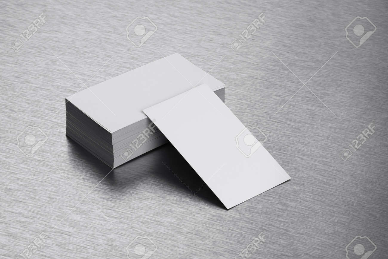 Blank Business Card Mockup On Brushed Steel Background Stock Photo ...