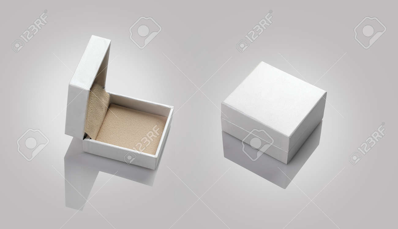 blank empty white jewelry box for mockup stock photo picture and