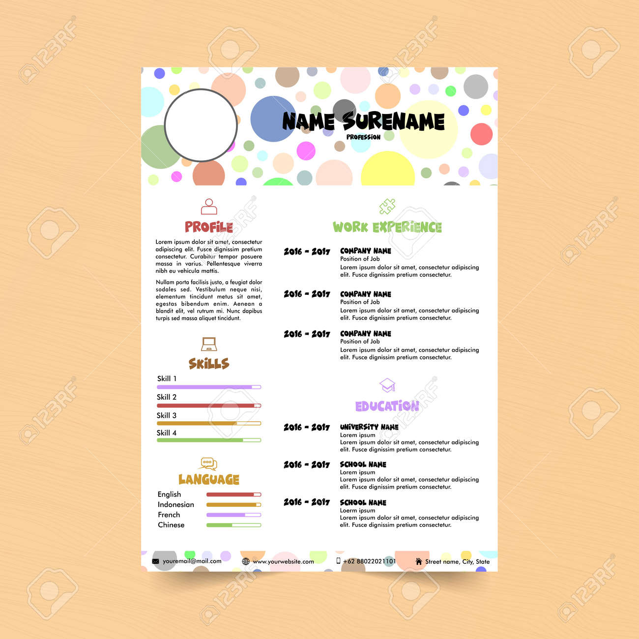 colorful curriculum vitae vector illustration stock vector 111965480