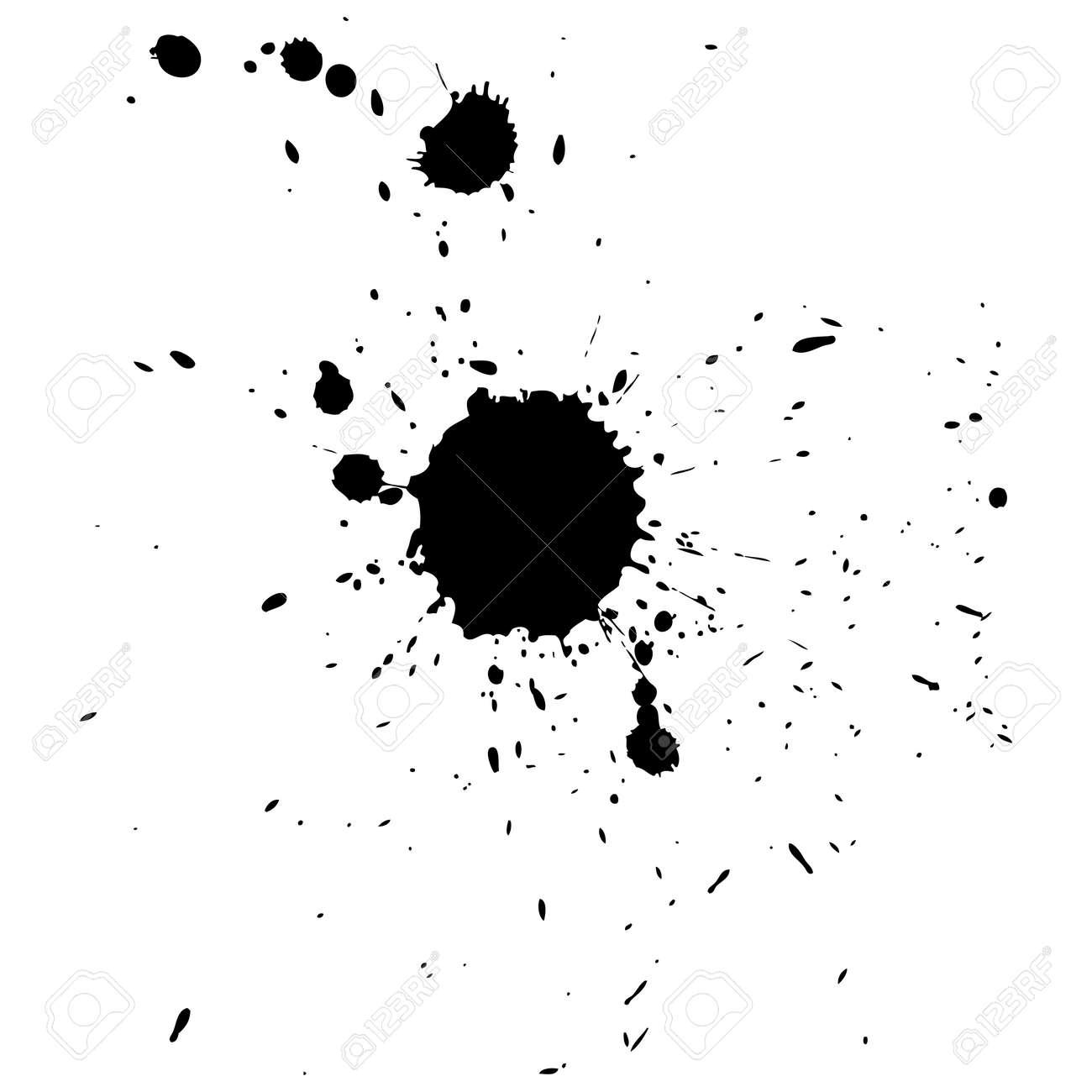 Foto de archivo - Varias gotas de tinta negro y salpicaduras 6f53ea0c5761