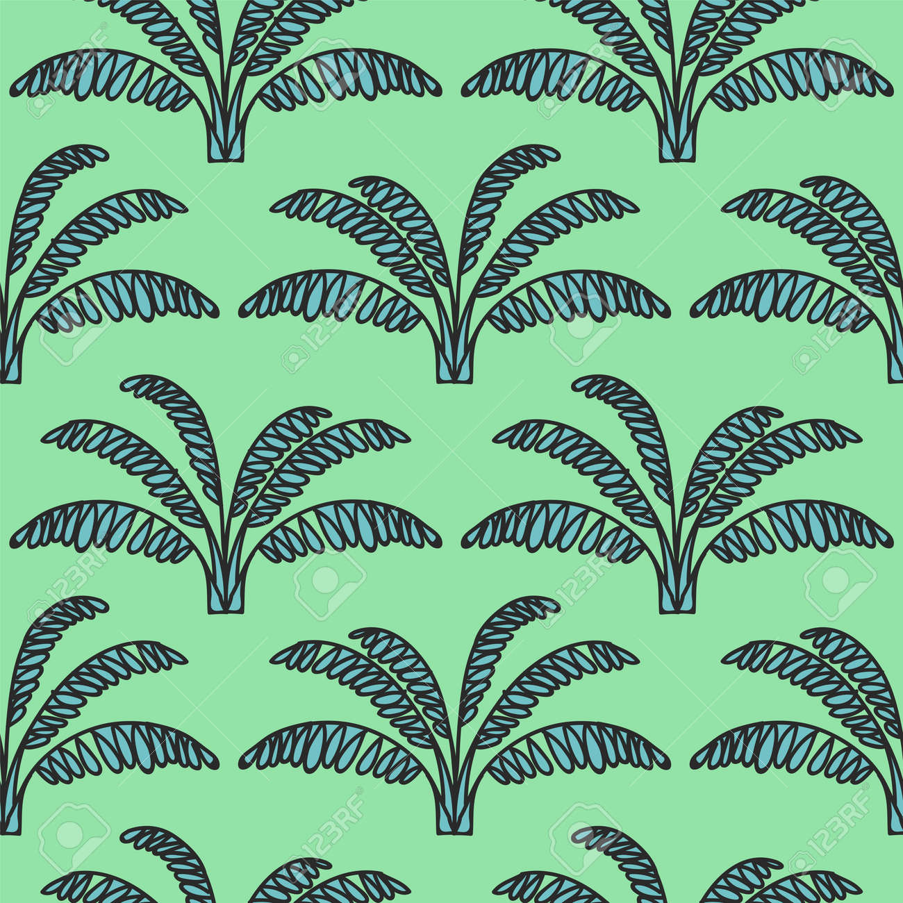 seamless tropical jungle palm leaves pattern doodle exotic flower