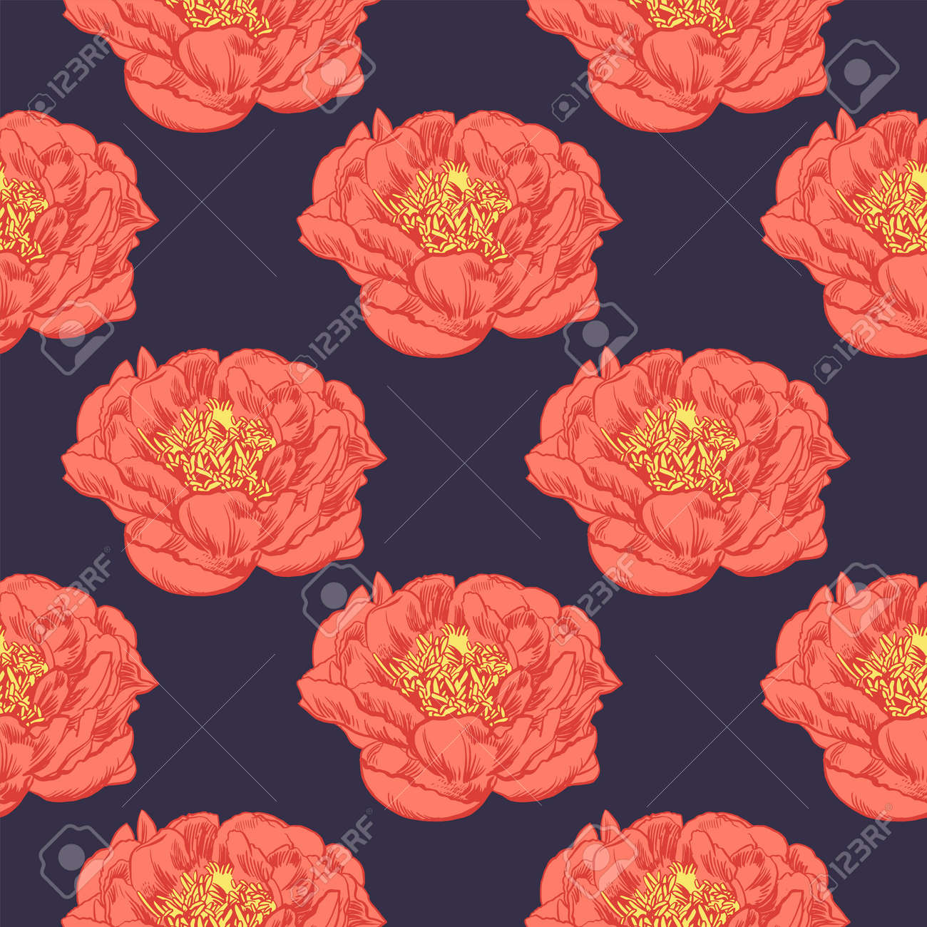 Hand Drawing Peonies Vector Graphic Flowers Decorative Background For Cards Invitations Template Greeting Card