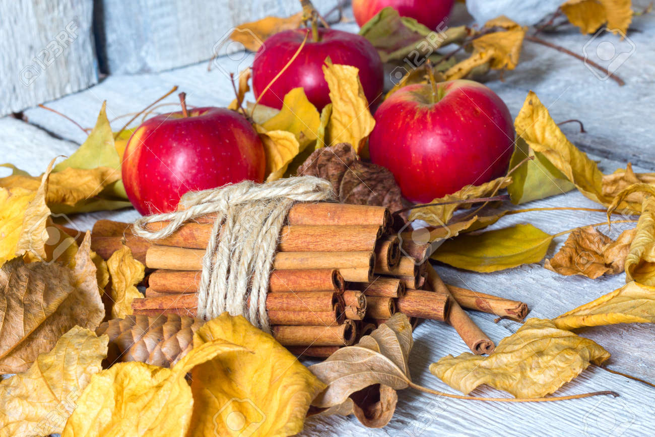 Stylish Rustic Or Autumn Wallpaper With Cinnamon And Apple And Stock Photo Picture And Royalty Free Image Image 88223579