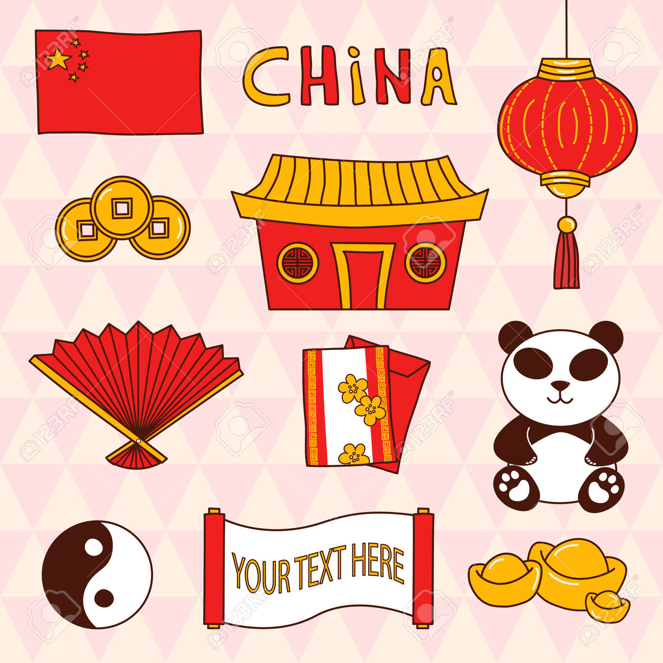 set of china theme cute cliparts in vector cartoon collection