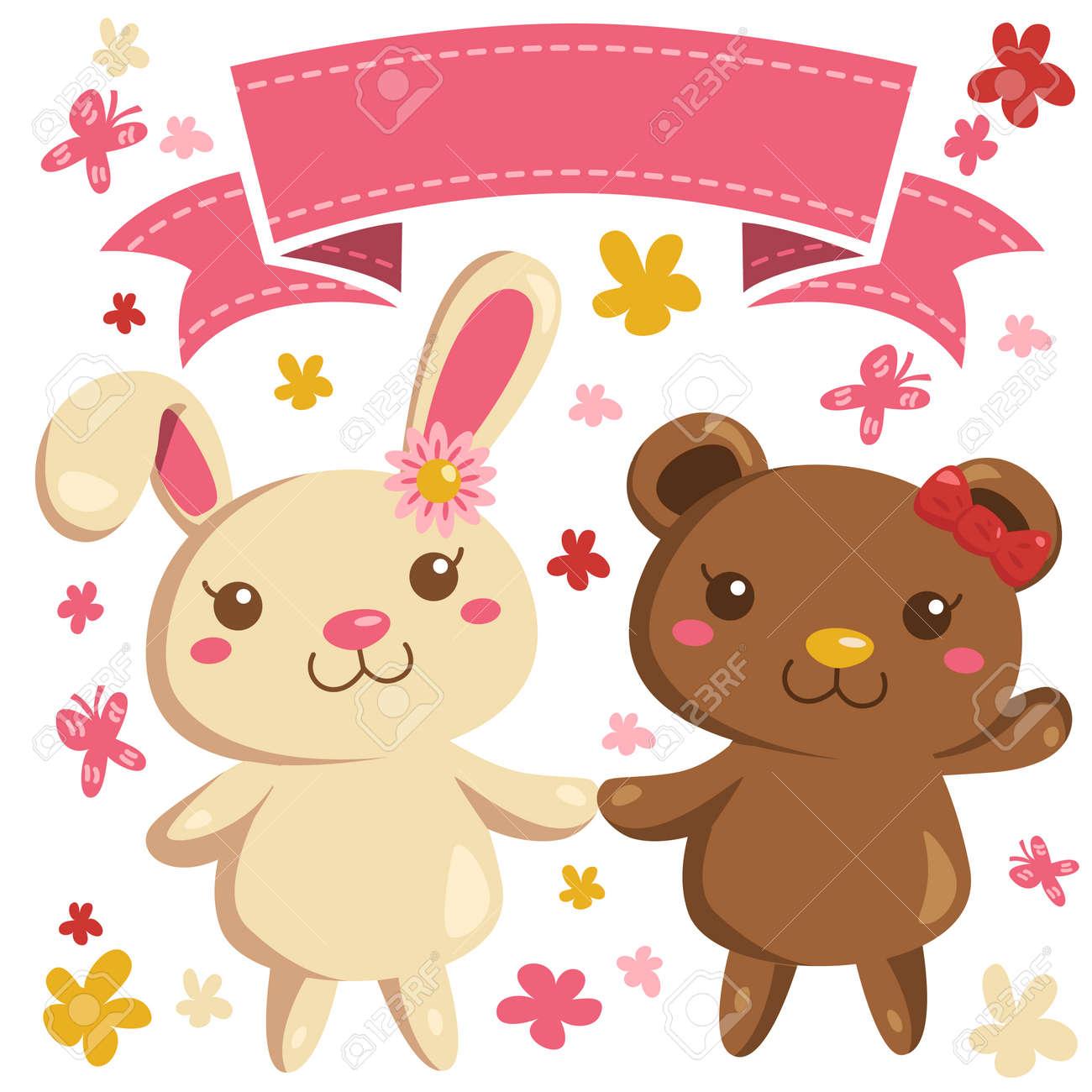 Bunny Y Vectores Oso En El Estilo De Dibujos Animados Lindo Con La
