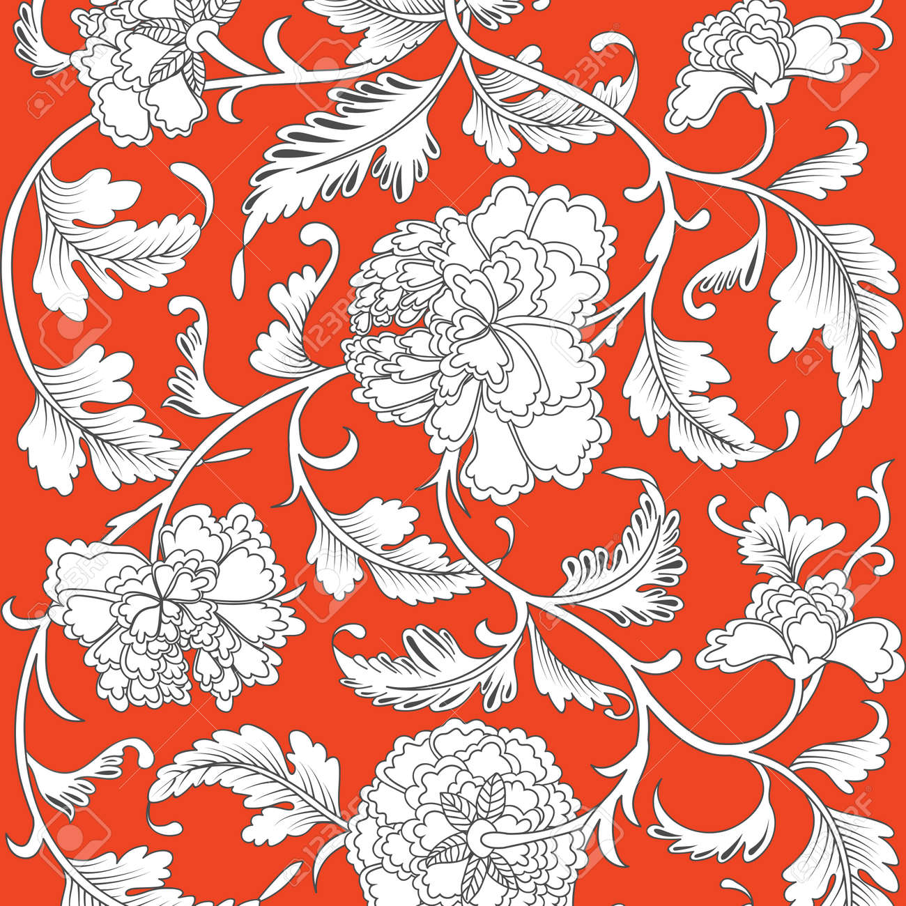 Pattern On Red Background With Chinese Flowers Vector Illustration