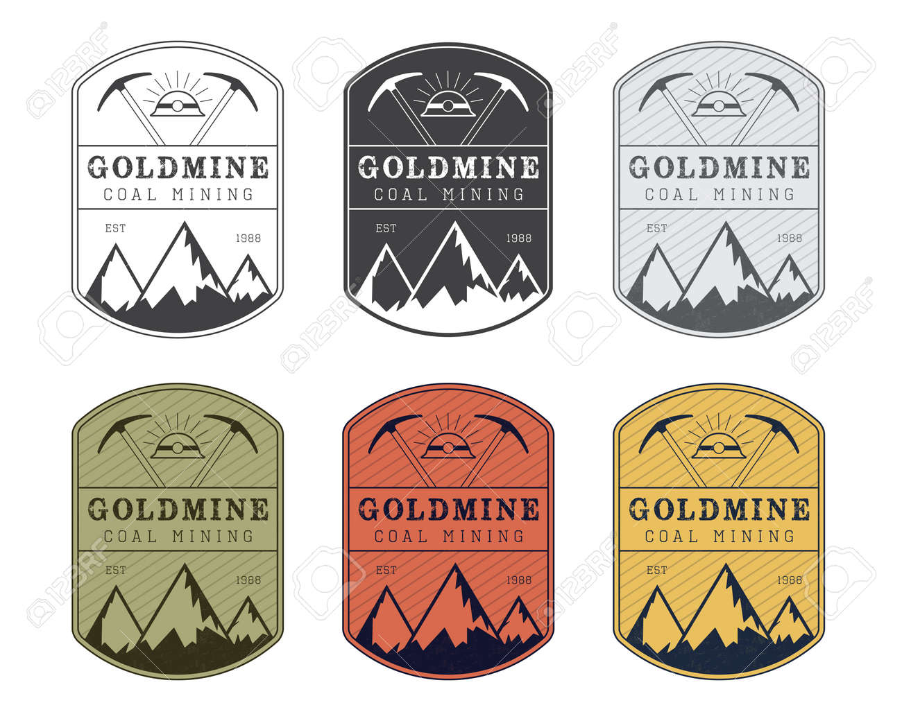 Coal Mining Vector Logo Badge In Vintage Style Different Colors