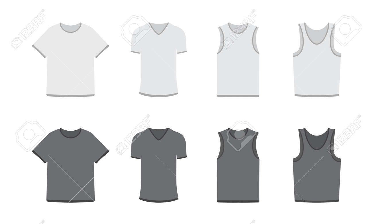 Set Of Different Types Of T Shirts In Dark And Light Colors